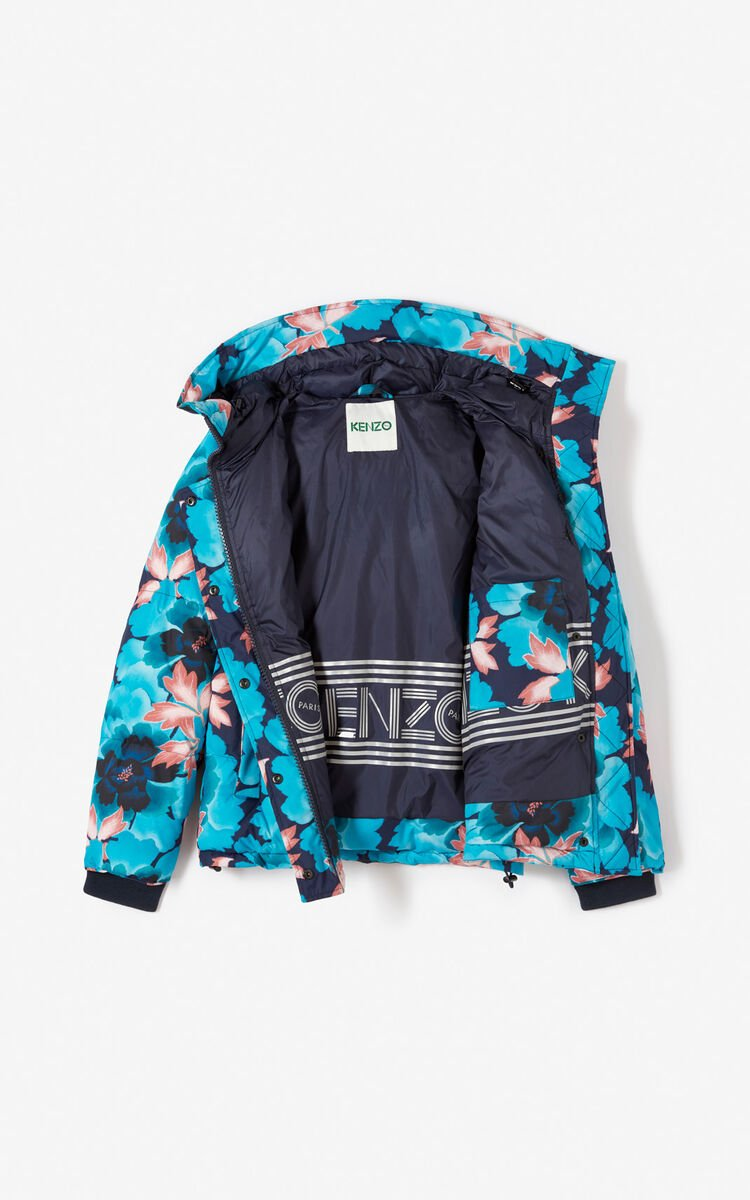 NAVY BLUE 'Indonesian Flower' down jacket for women KENZO