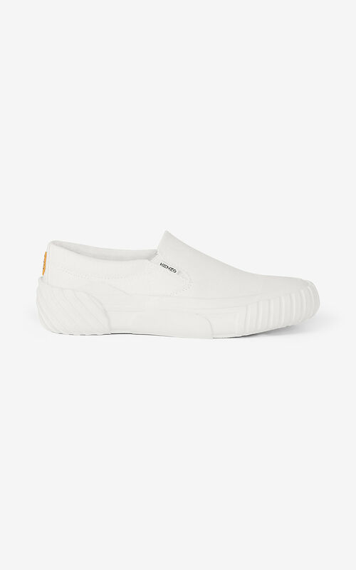WHITE Slip-on canvas Tiger Crest trainers for unisex KENZO