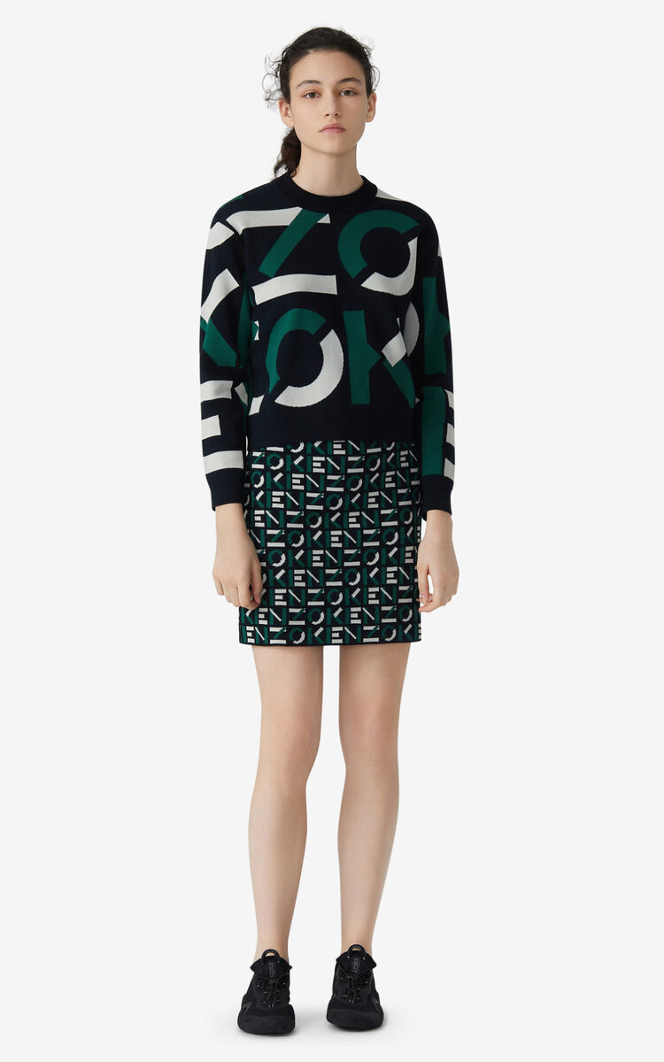GREEN KENZO Sport jacquard monogram jumper for women