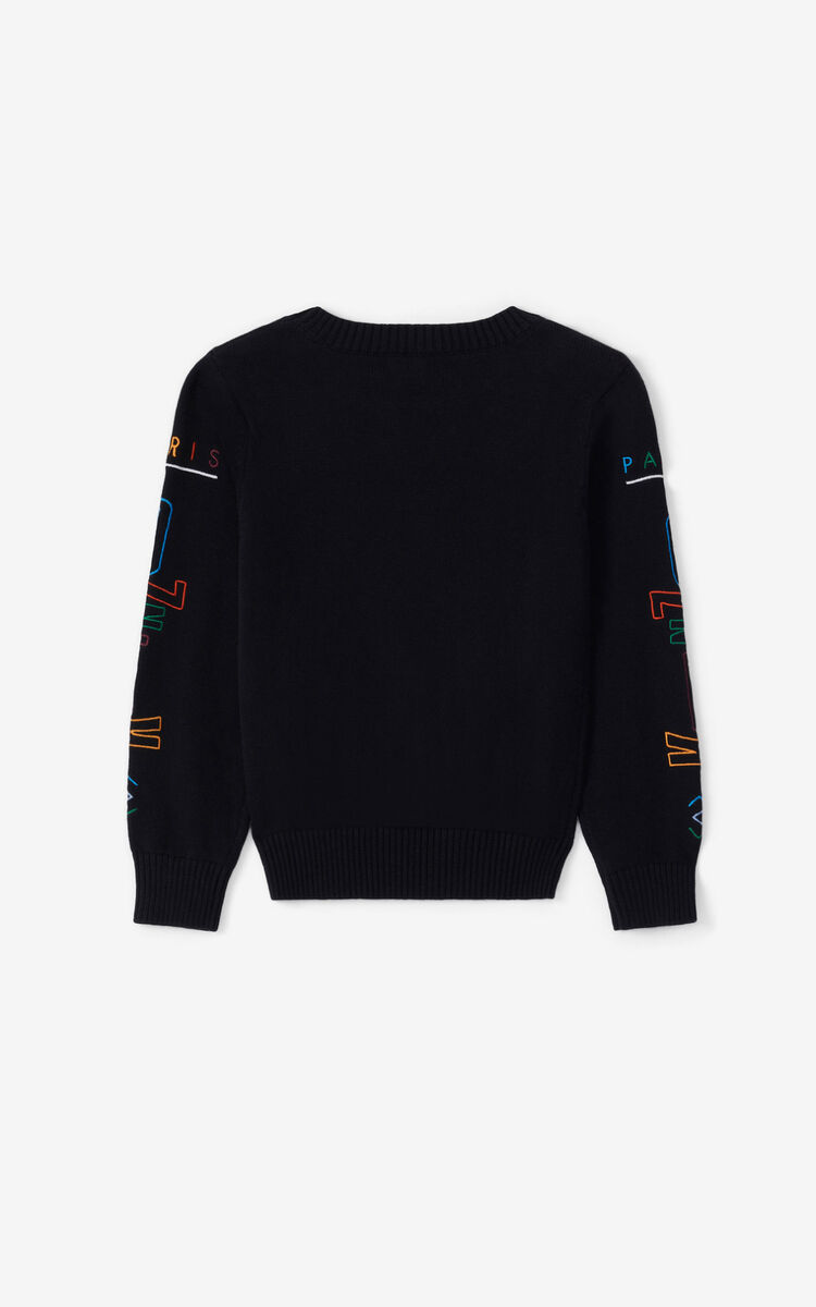 BLACK 'Lima' Eye cashmere sweater for men KENZO