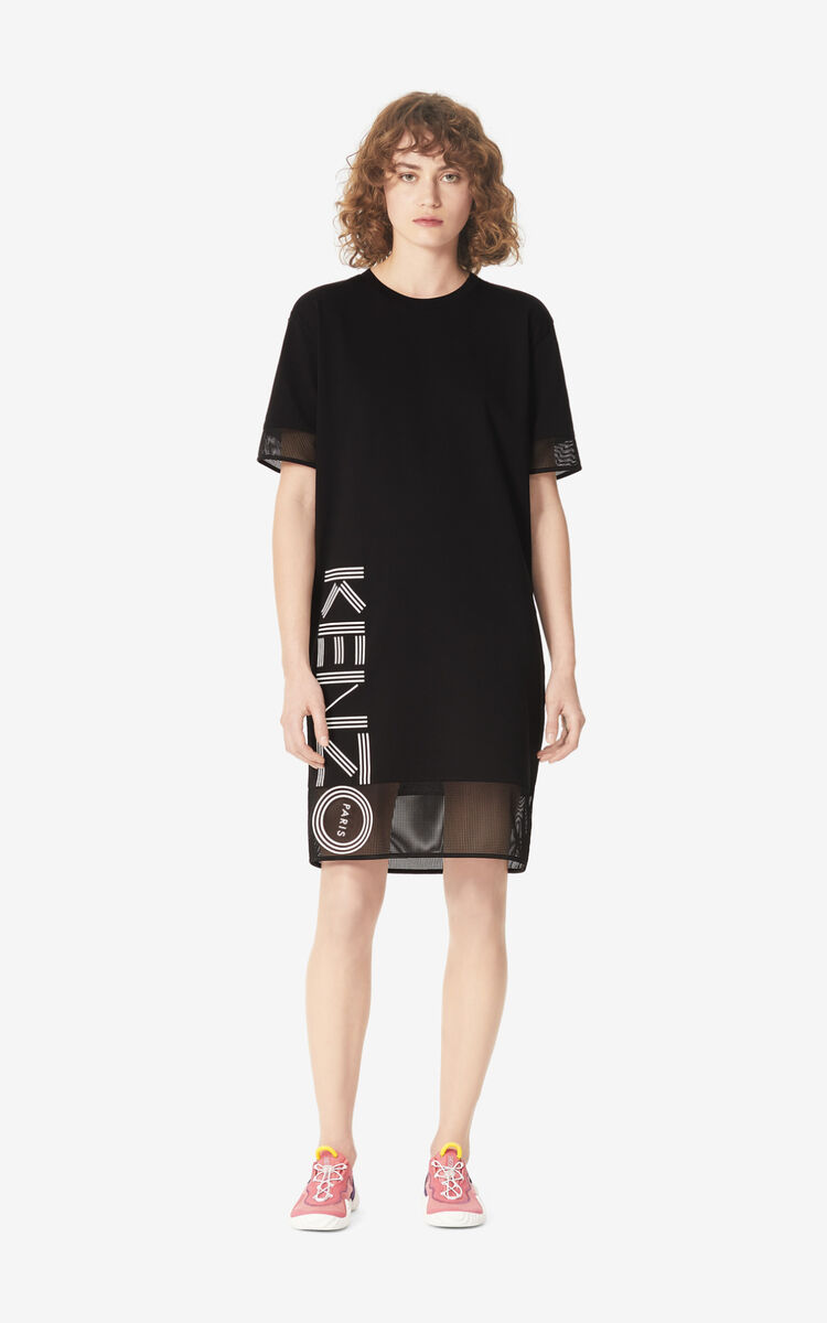 BLACK Dual-material KENZO Logo dress for women
