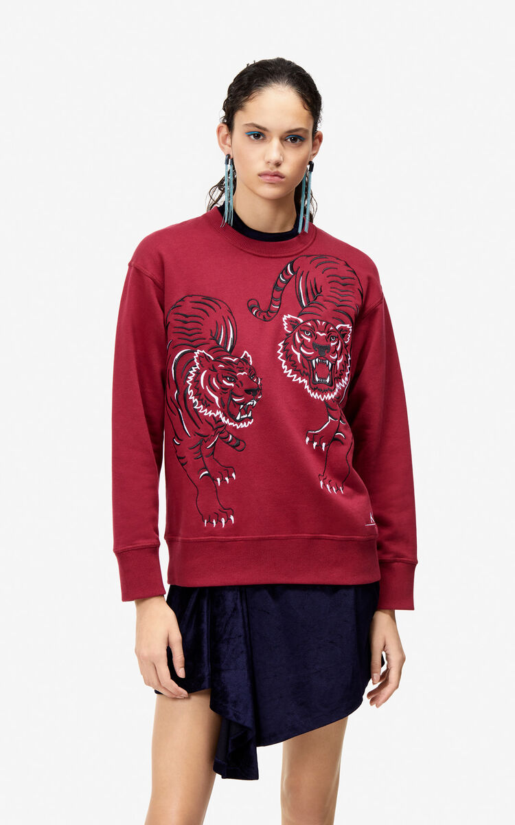 PEONY RED Sweatshirt 'Double Tiger' for women KENZO
