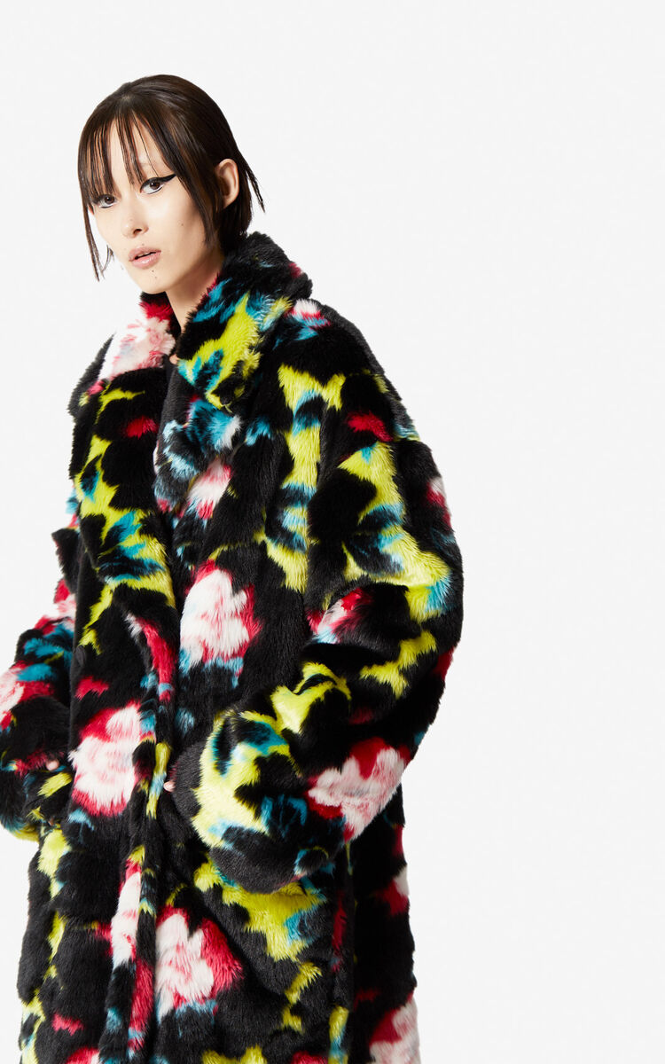ABSINTHE 'Indonesian Flower' faux fur coat for women KENZO
