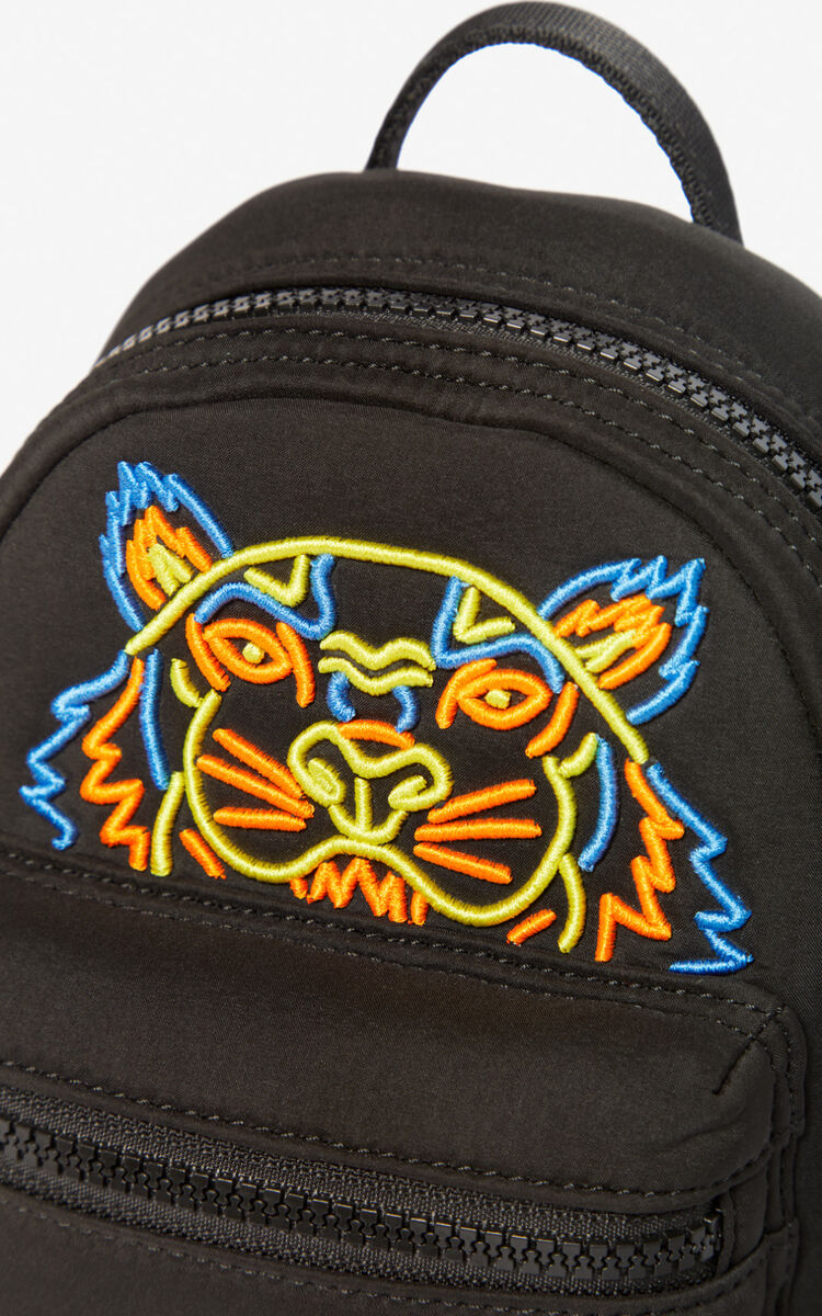 BLACK Mini Tiger backpack in neoprene for unisex KENZO
