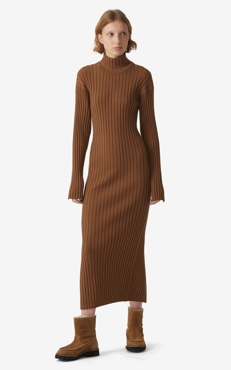 CHESTNUT Ribbed knit dress for women KENZO