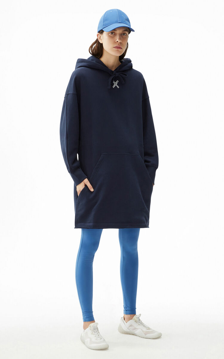 MIDNIGHT BLUE KENZO Sport 'Little X' oversized hooded sweatshirt dress for men