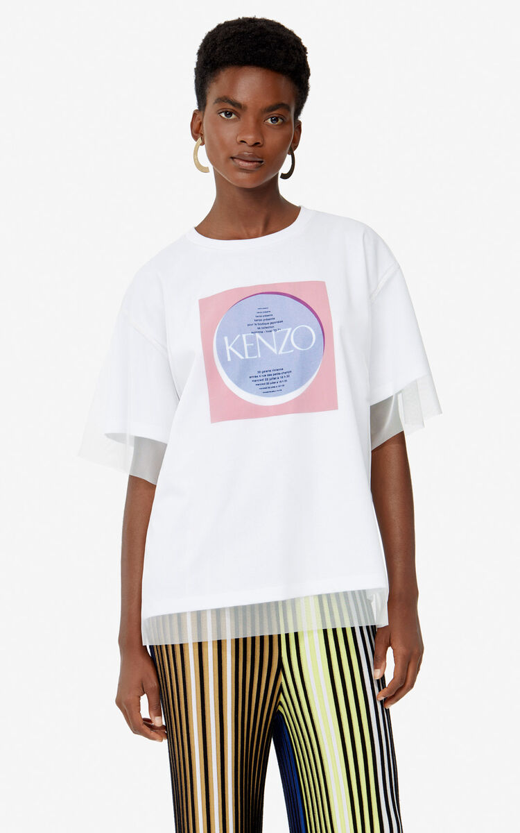WHITE 'Square Logo' t-shirt for women KENZO