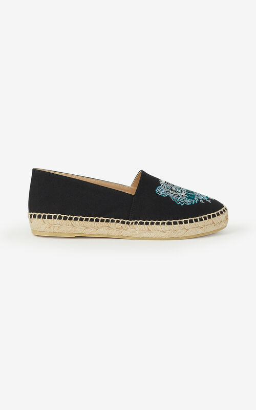 BLACK Canvas Tiger espadrilles for women KENZO