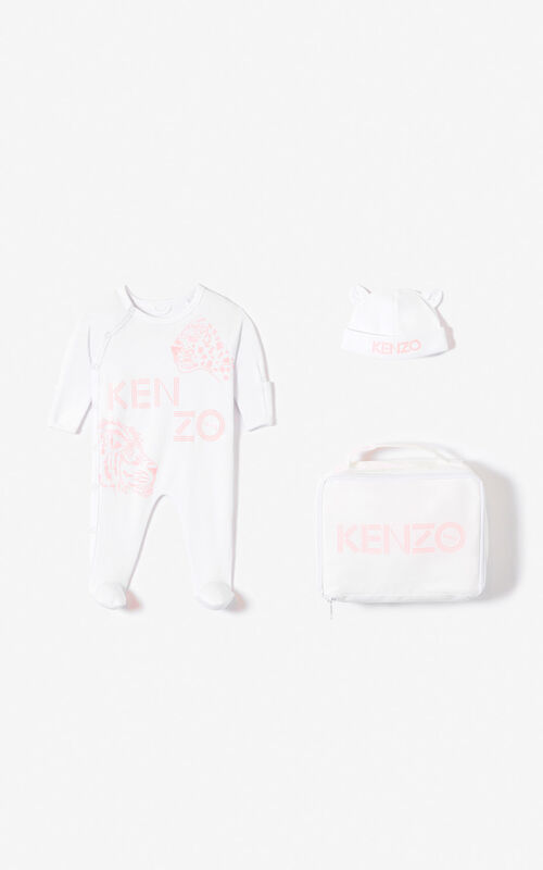 FADED PINK 'Tiger Friends' sleepsuit and hat set for unisex KENZO