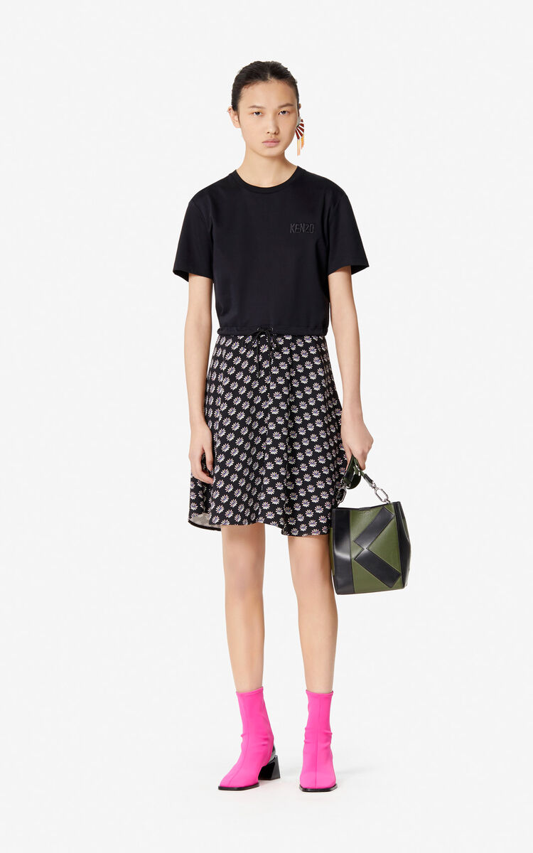 BLACK 'Passion Flower' T-shirt dress for women KENZO