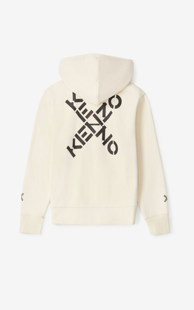 CREAM KENZO Sport 'Big X' zipped sweatshirt for men