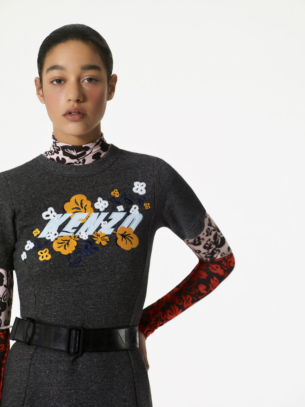 ANTHRACITE KENZO x 'Floral Leaf' sweatshirt dress for women