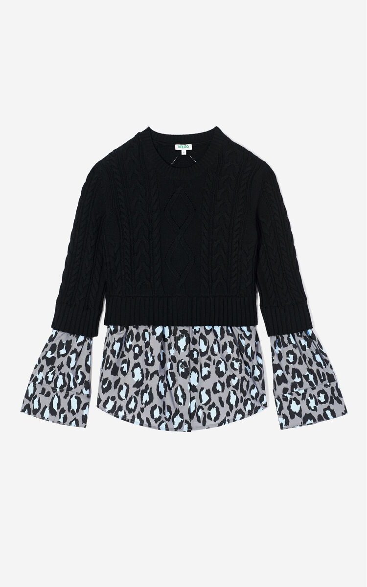 PALE GREY Leopard jumper shirt for women KENZO