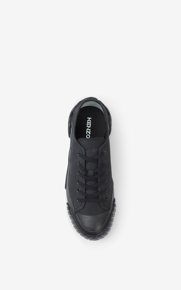 BLACK Leather Tiger Crest trainers for unisex KENZO