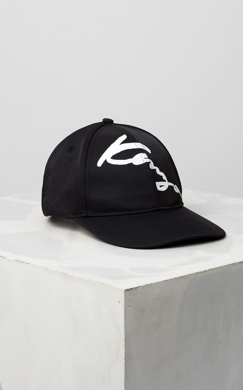 BLACK KENZO Signature Baseball Cap for men