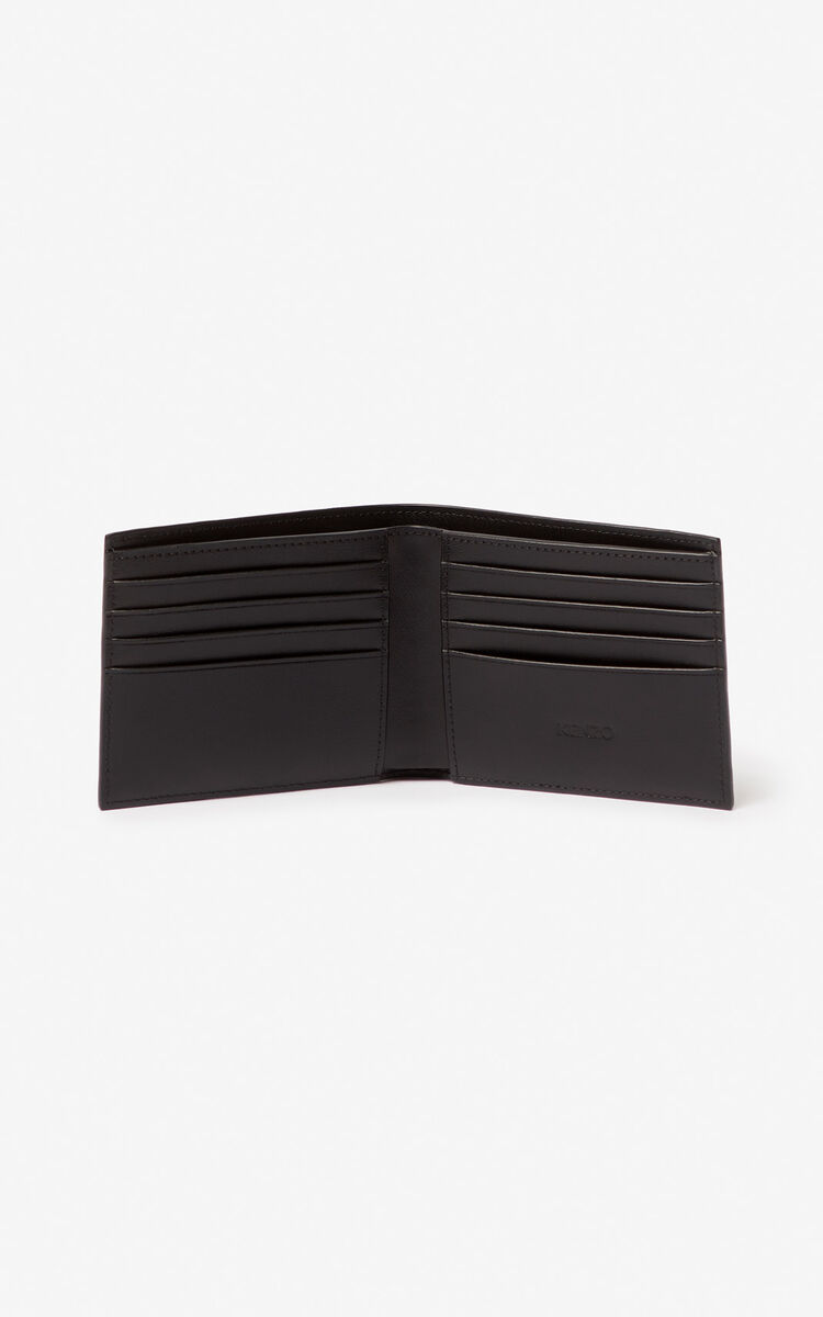 BLACK 'Square Logo' leather wallet for women KENZO