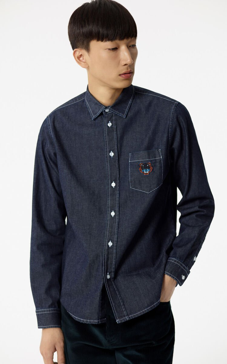 NAVY BLUE Raw denim Tiger shirt for men KENZO