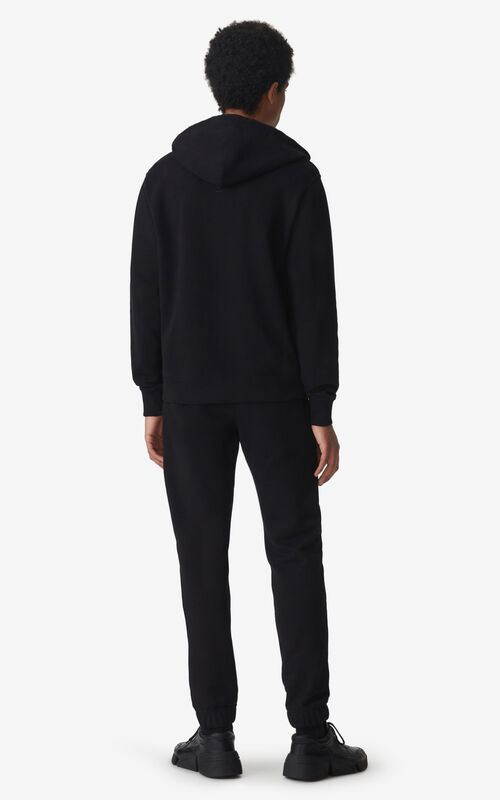 BLACK Tiger Crest zipped hooded sweatshirt for men KENZO