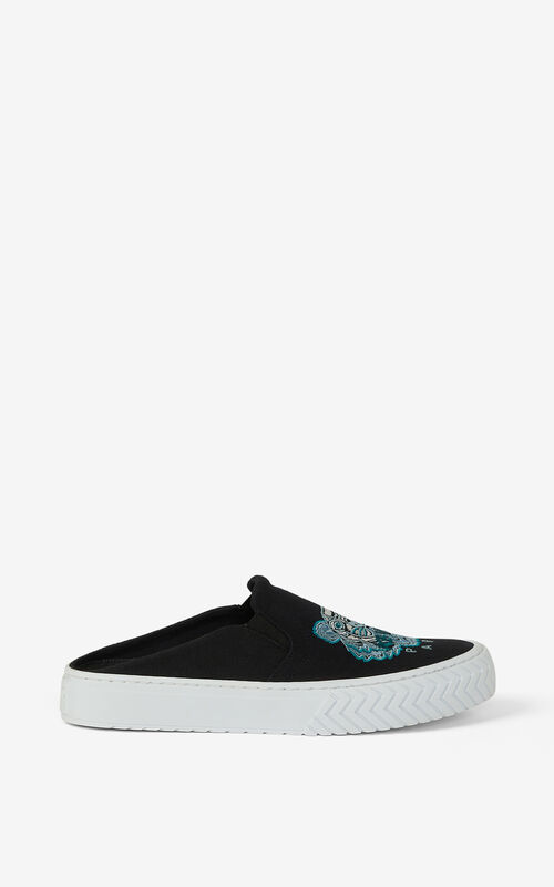 BLACK Canvas K-Skate Tiger mule trainers for unisex KENZO