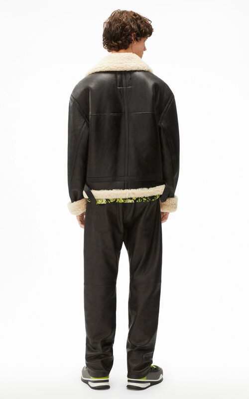 BLACK Shearling and leather jacket for men KENZO