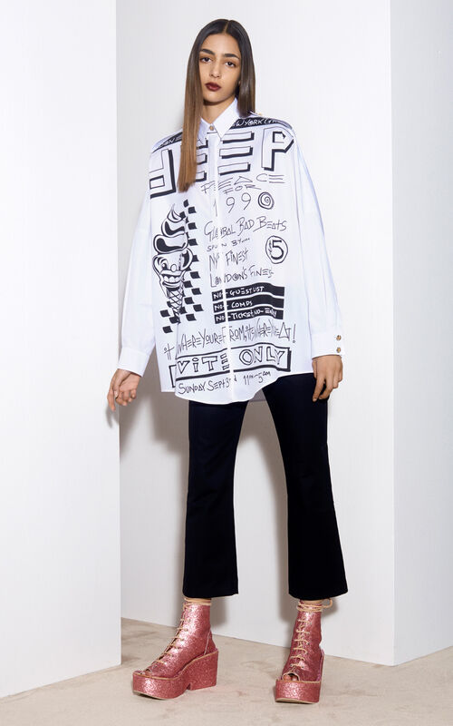 Oversized Flyer Shirt, WHITE, KENZO