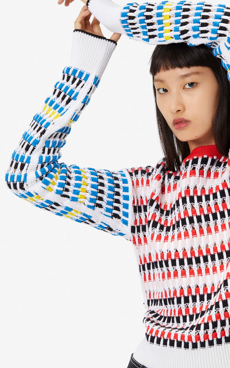 MULTICOLOR Multicoloured openwork jumper for women KENZO