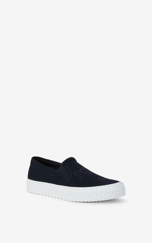 NAVY BLUE K-Skate Tiger laceless canvas trainers for unisex KENZO