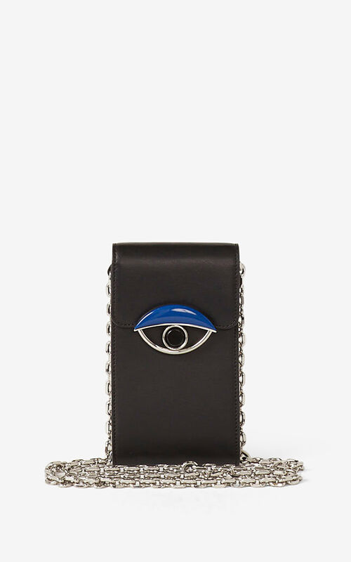 BLACK TALI leather phone holder with chain for men KENZO