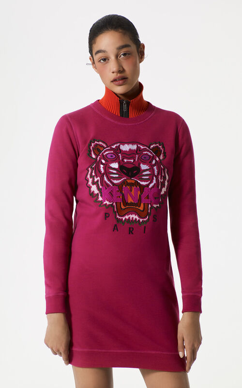 DEEP FUSCHIA Tiger Sweatshirt Dress for women KENZO