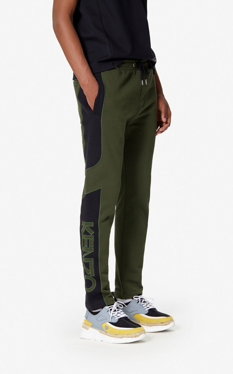 DARK KHAKI Dual-fabric jogging trousers for men KENZO