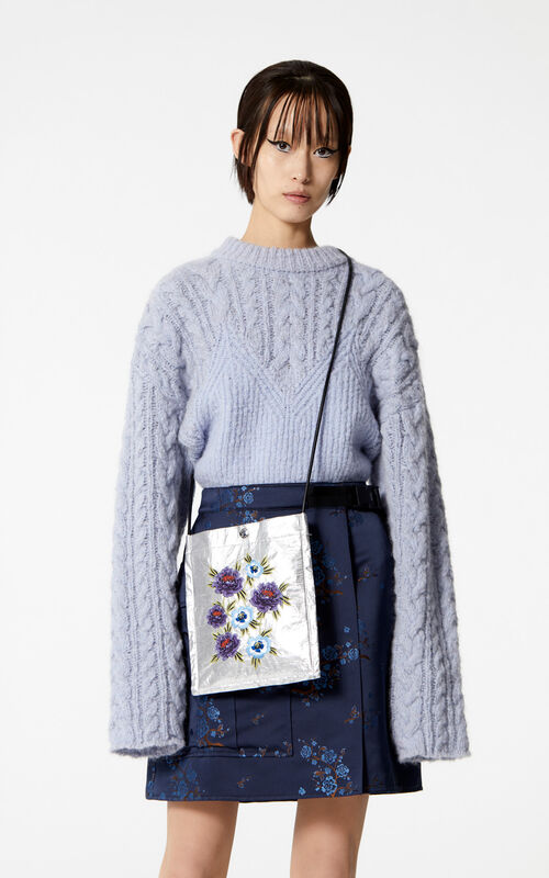 SILVER Cross-body 'Cheongsam Flower' bag for women KENZO