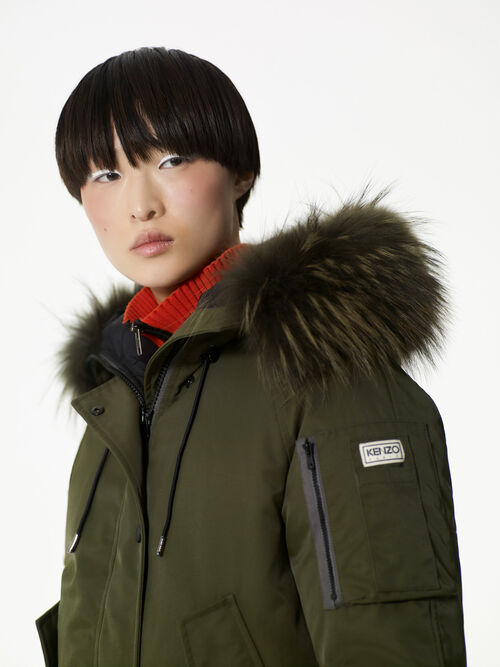 DARK KHAKI Puffa' Short Down Jacket for women KENZO