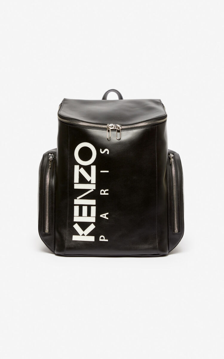 BLACK KENZO Logo leather Backpack for women
