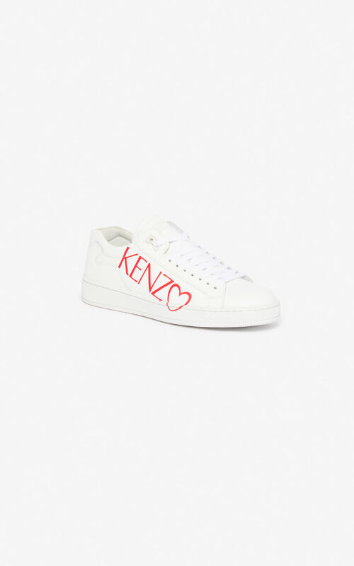 WHITE 'I ❤ KENZO Capsule' Tennix sneakers for unisex