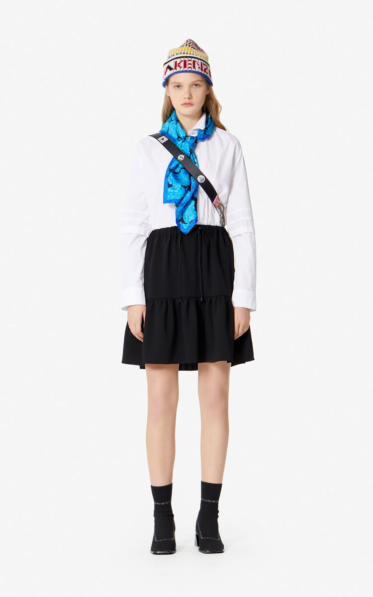 BLACK Ruffled skirt for women KENZO