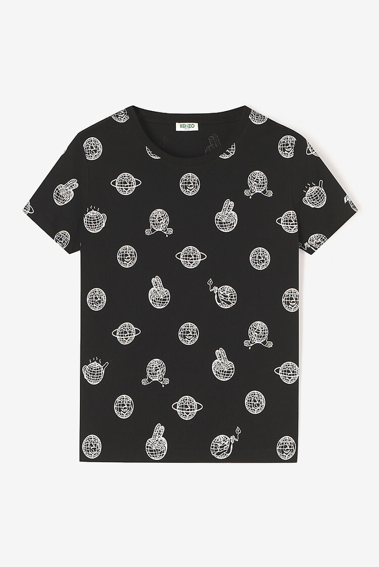 BLACK 'Peace World' t-shirt for women KENZO