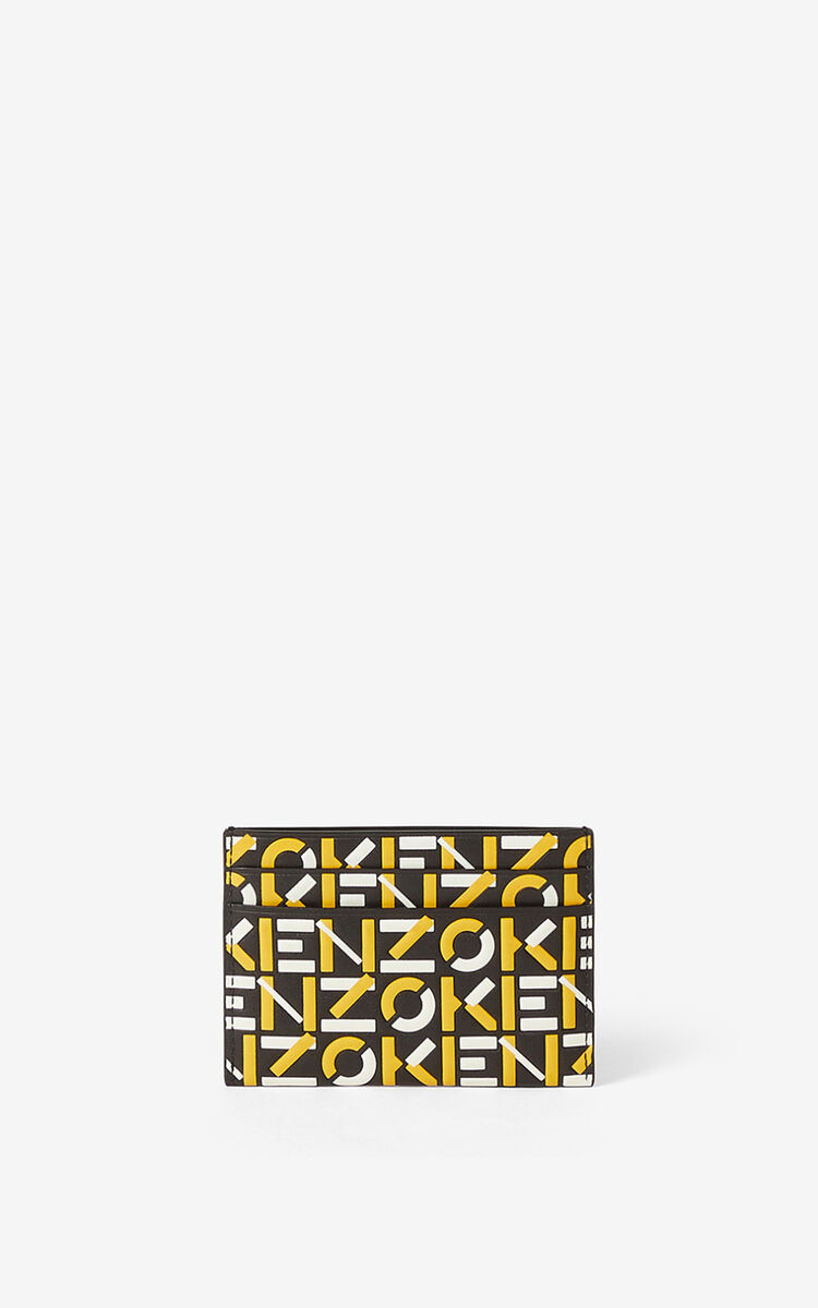 GOLDEN YELLOW Monogram leather card holder for men KENZO