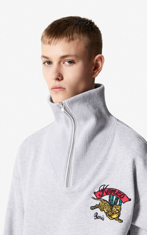 PEARL GREY 'Jumping Tiger' sweatshirt with zipped collar for men KENZO