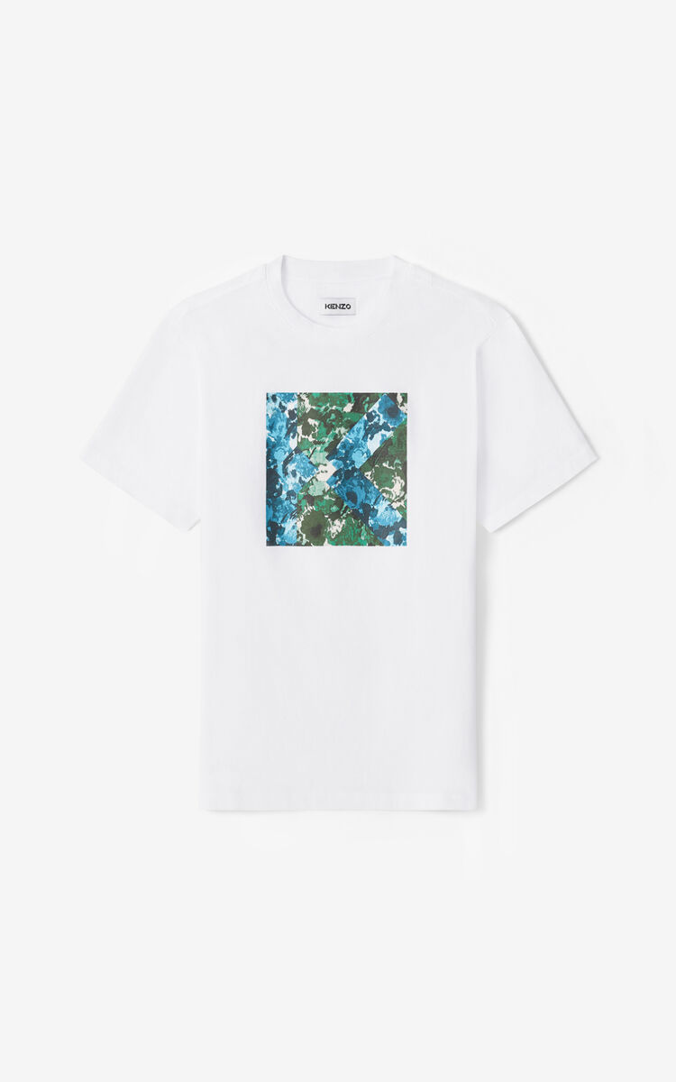 WHITE K Logo t-shirt for men KENZO