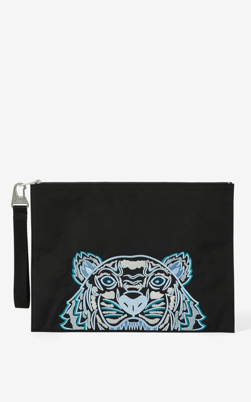 BLACK Canvas Kampus Tiger pouch for unisex KENZO