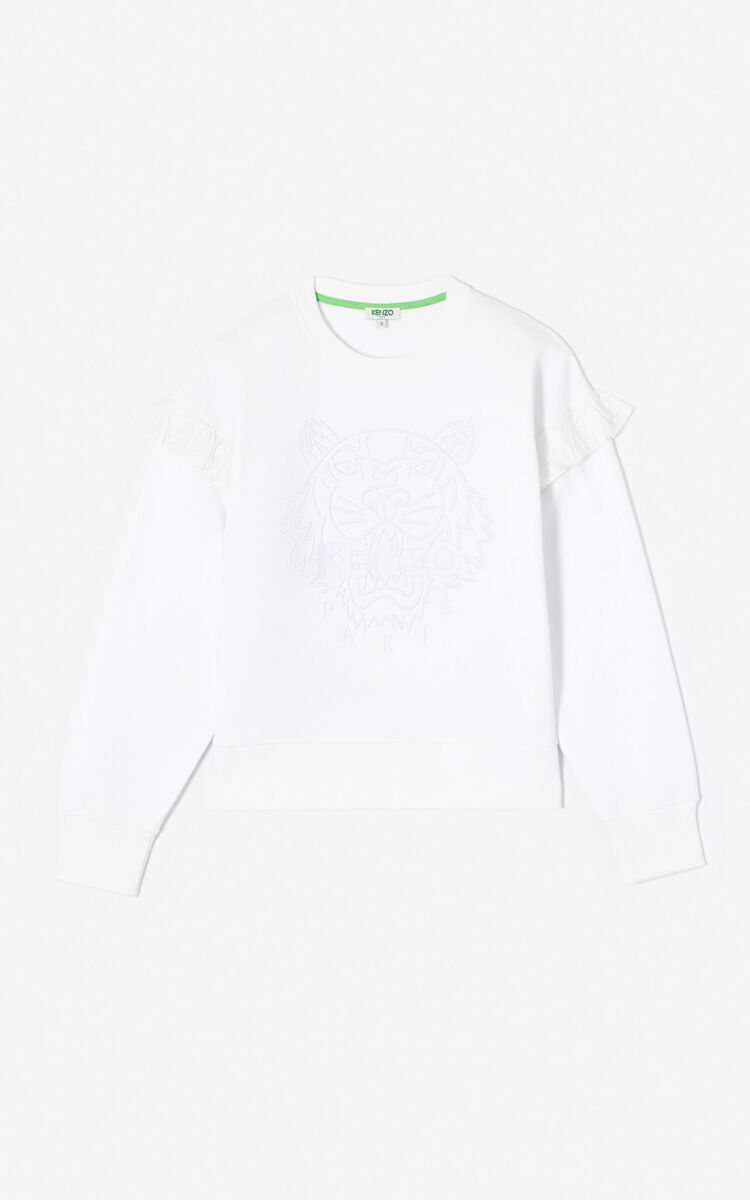 WHITE Tiger ruffle sweatshirt for women KENZO