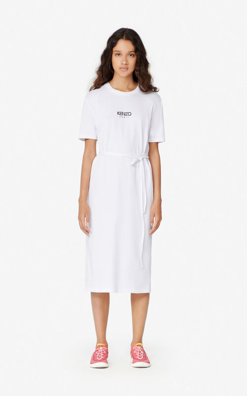 WHITE T-shirt dress KENZO LOGO for women