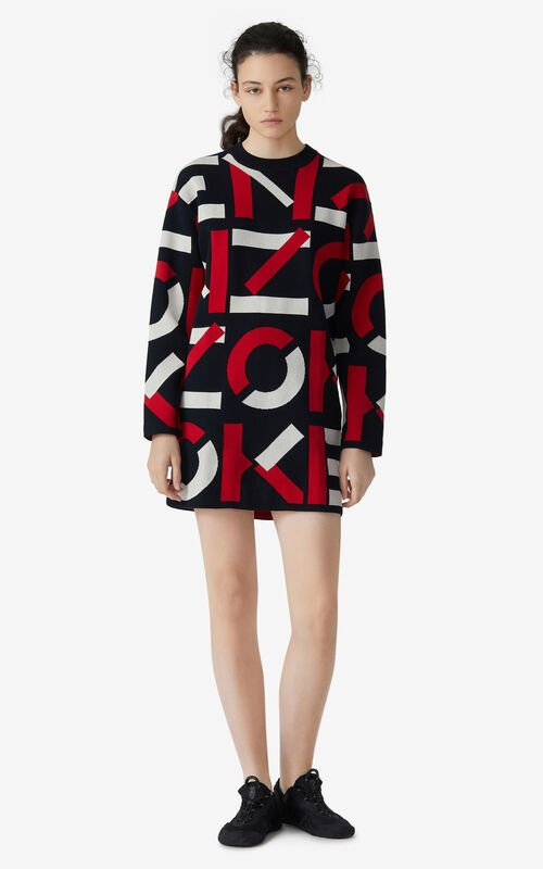 MEDIUM RED KENZO Sport jacquard monogram dress for women
