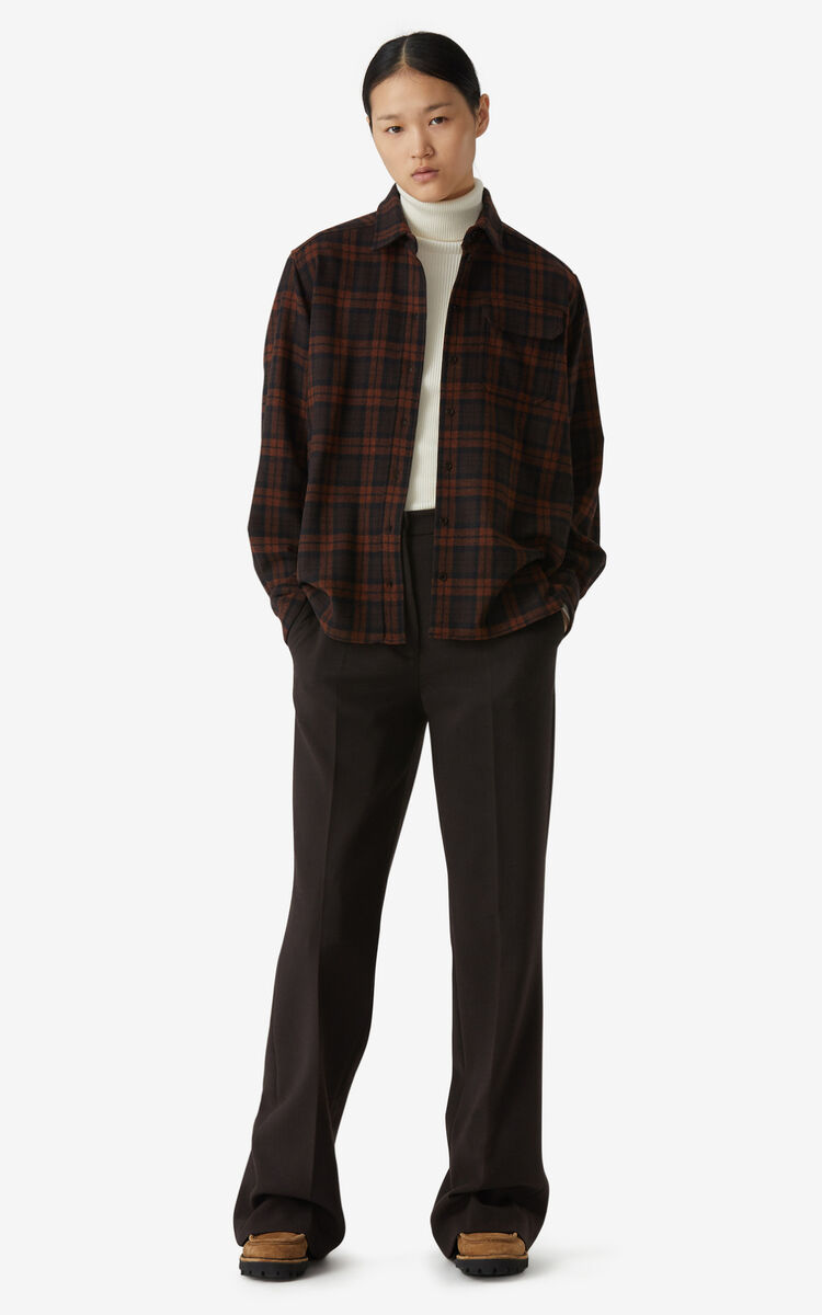 DARK BROWN Checked flannel shirt  for women KENZO