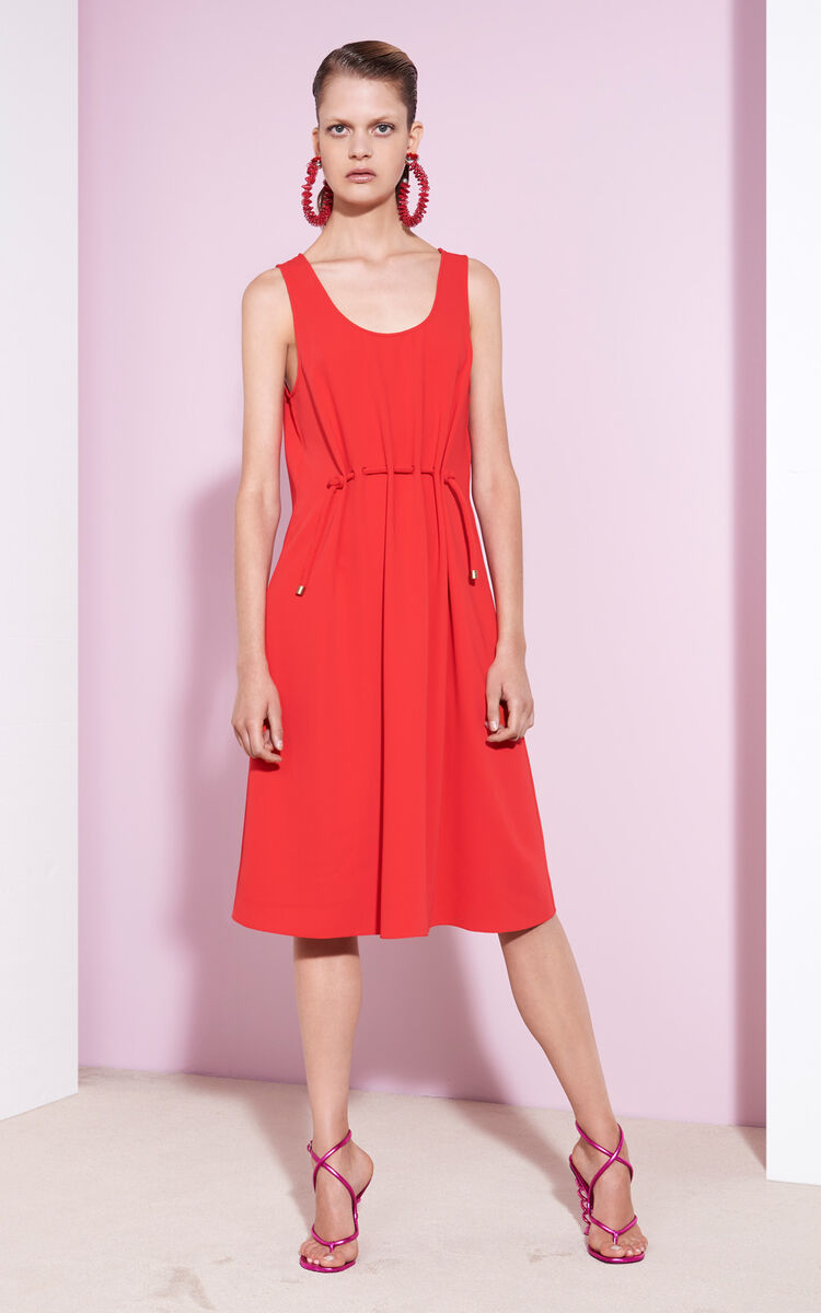 Midi Dress with waist tie, VERMILLION, KENZO