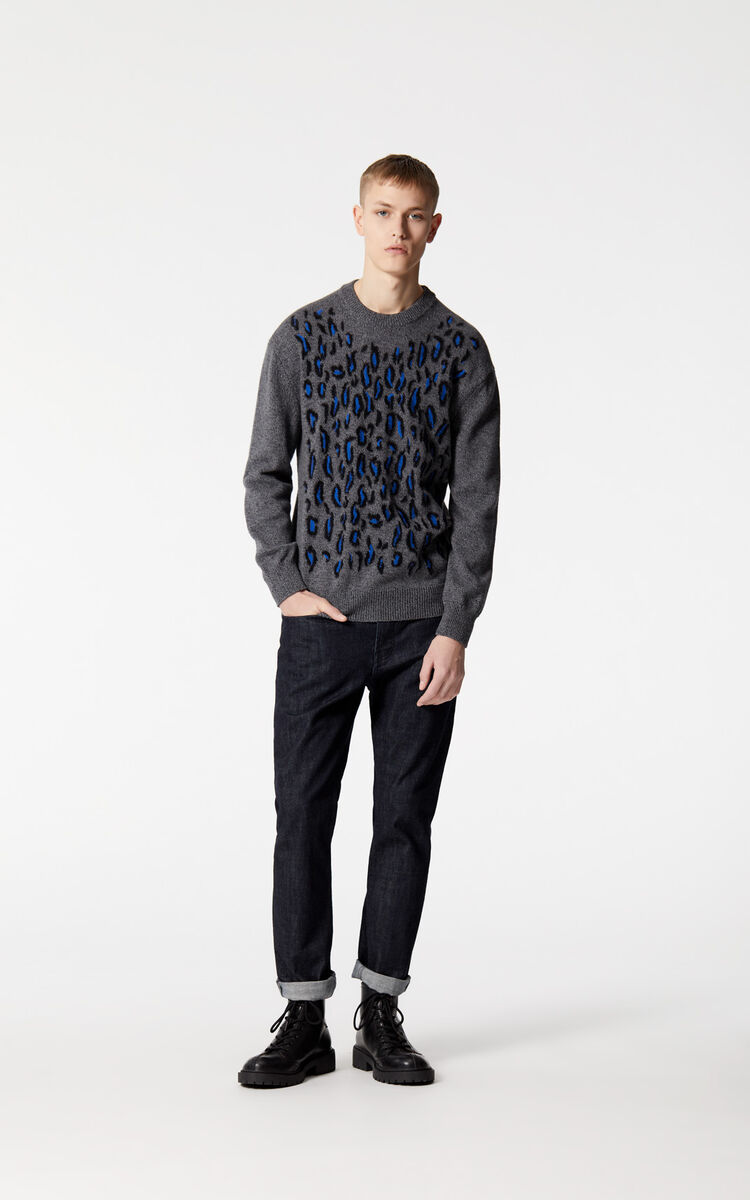 ANTHRACITE Leopard jumper for men KENZO
