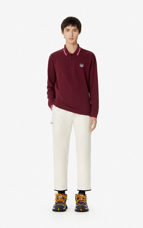 BORDEAUX Slim fit long sleeve Tiger polo shirt for women KENZO
