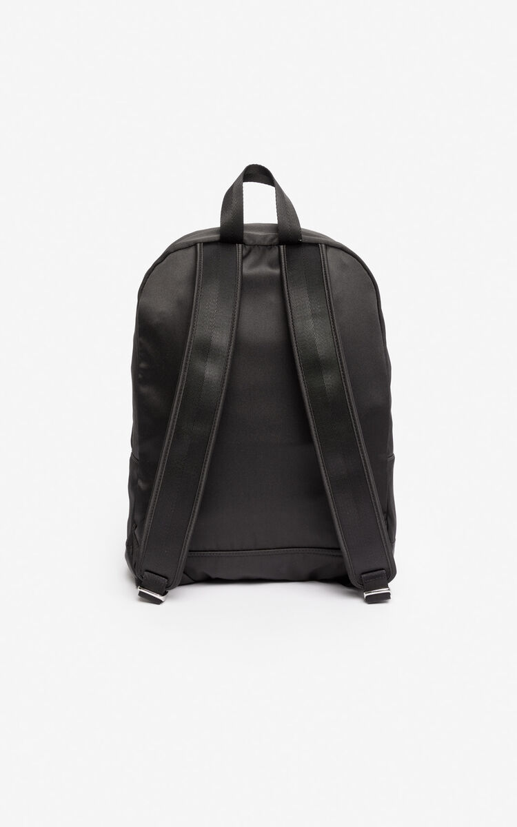 BLACK Large satin Tiger backpack 'Holiday Capsule' for women KENZO