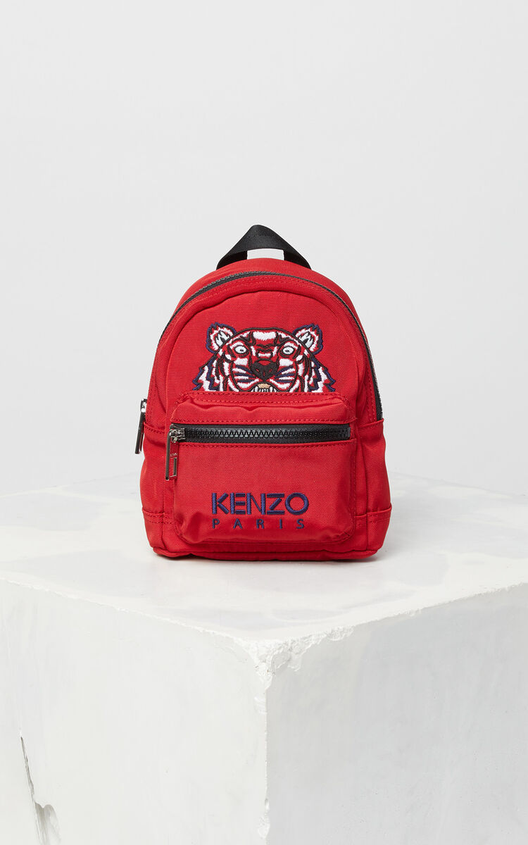 MEDIUM RED Mini Tiger Canvas backpack for women KENZO