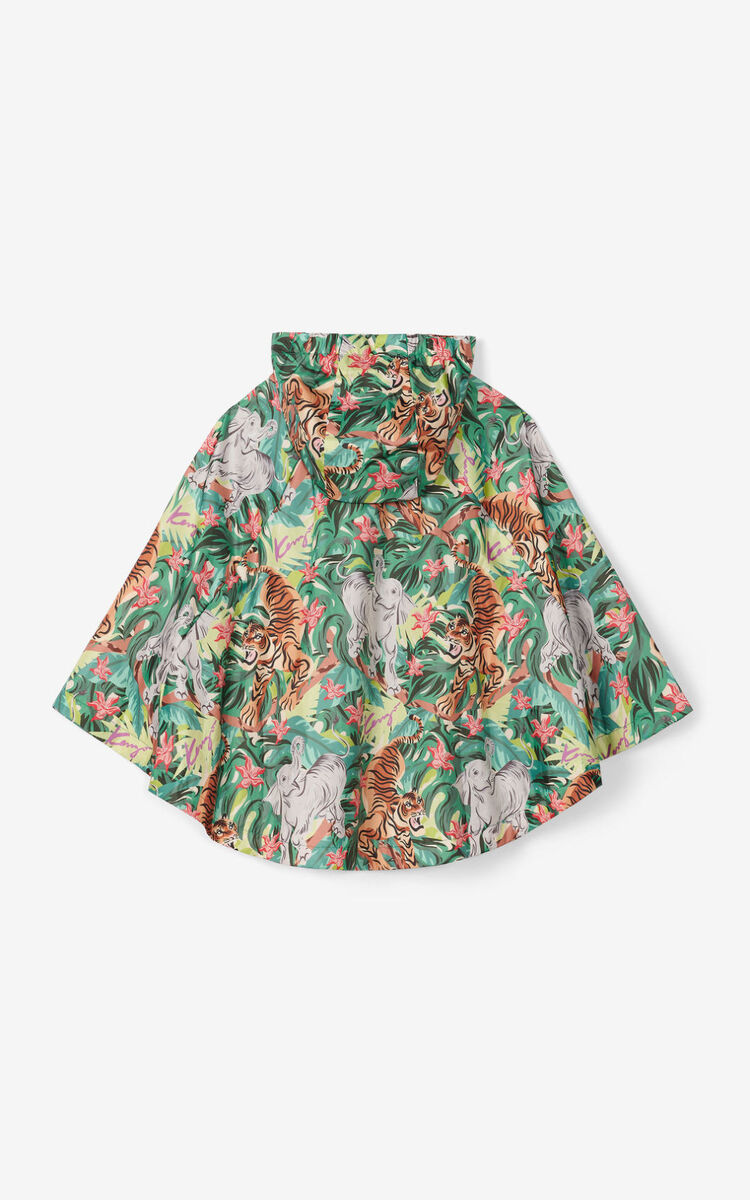 BOTTLE GREEN Packable printed cape    for women KENZO